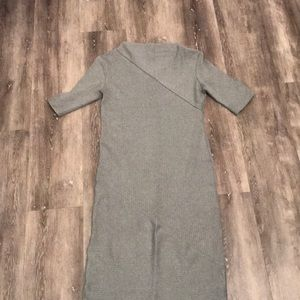 Grey Body-Con Ribbed Dress